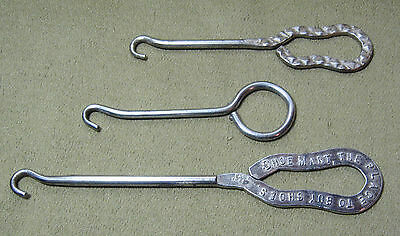 Lot of 3 Vintage Button Hooks Shoe Mart & Others - All different
