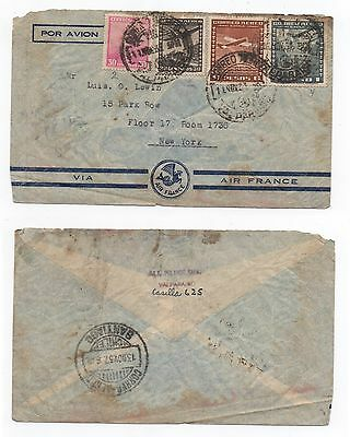 1937 CHILE Air Mail Cover VALPARISIO & SANTIAGO To NEW YORK USA France Envelope