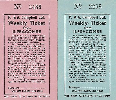 Card Tickets. P. & A. Camrbell Ltd. Weekly Ticket from Ilfracombe. 2 tickets
