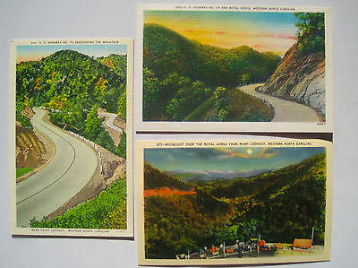 3 Old 1930-40s Linen Postcards; US Highway 70; Point Lookout; Royal Gorge; MINT