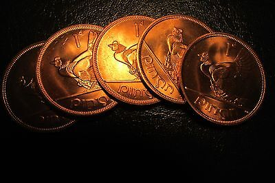 Lot Of 5 X 1968 Irish Pre Decimal Pennys Coin In Gem Bu Condition.from Mint Bag.