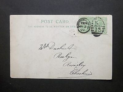 """GB 1909 KEVII 1d """"The Imperial Hotel"""" Postcard W.C 13 LONDON Duplex to Cheshire"""
