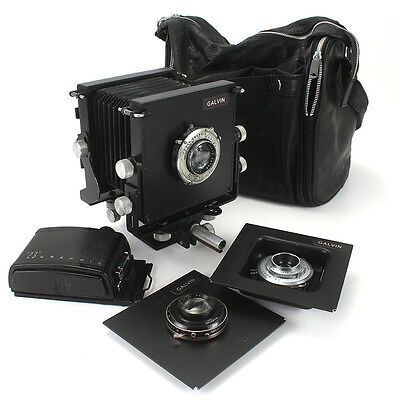GALVIN 2-1/4x3-1/4 MONORAIL VIEW CAMERA, 3 LENSES, 6X9 ROLL FILM BACK/cks/188116
