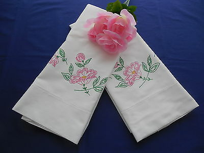 Vintage White Pillowcases w/ Pink Flowers Paint Embroidery