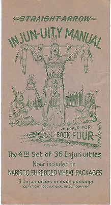 1952 Nabisco Straight Arrow Injun-Uity Cards Book Four Cover + 3 Cards