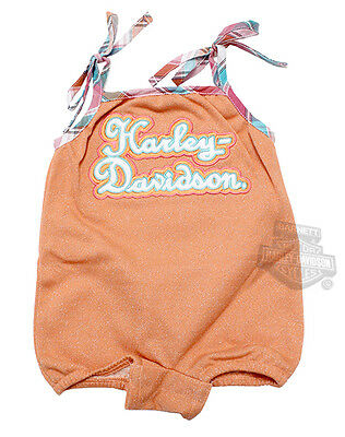 Harley-Davidson Girls Baby Embroidered Glitter French Terry Orange Romper