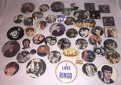 Lot of 48 Vintage The Beatles Ringo Star Paul McCartney Rock & Roll Buttons Pins