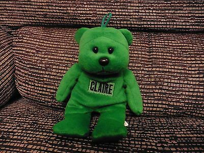 Green Teddy Bear with beaded belly and personalised name (CLAIRE)
