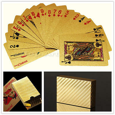 Excellent 24K Gold Foil Lattice Grid Poker Cards Family Game Fun Playing Card