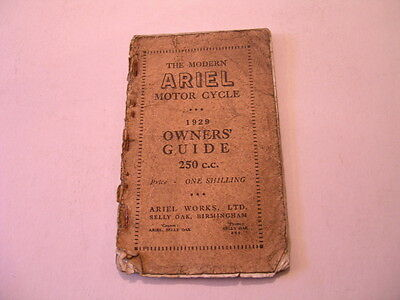 Rare Ariel Motor Cycle 1929 Owner's Guide