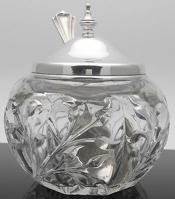 Art Nouveau Pressed Glass Honey / Jam Pot With Silver Plated Lid