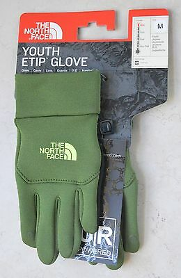 the north face tnf kids youth Etip gloves scallion green touch screen bay sizes