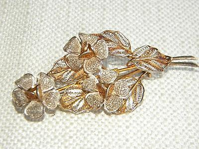 lovely Vintage FILIGREE brooch Bunch of Flowers ~ silver 800 ~ gold wash