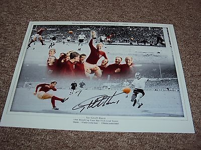 16x12 SIR GEOFF HURST HAND SIGNED PHOTO MONTAGE ENGLAND WORLD CUP 1966 CHAMPIONS