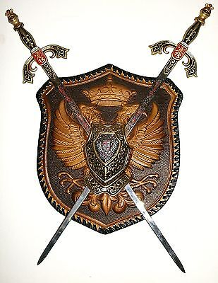 Vintage Leather Work Medieval Knight Griffin Swords Armor Coat of Arms Plaque