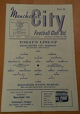 RARE 25 OCT 1958 MANCHESTER CITY RES v BLACKBURN ROVERS RES FOOTBALL PROGRAMME