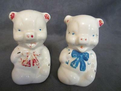 D4 Vintage Shawnee Pigs in Bowties Salt Pepper Shakers