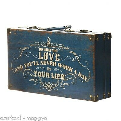 Vintage Design Wooden Suitcase Storage Box Do What You Love And You Will Never