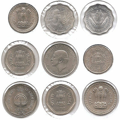 India Lot of 9 Coins 10 & 50 Paise and 1 & 2 Rupees 1964 - 1985 Higher Grades