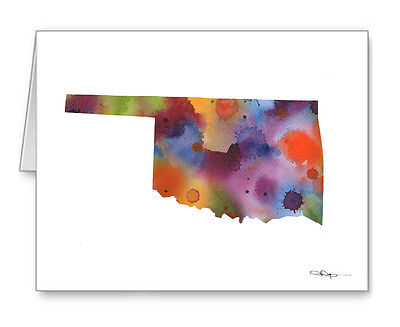 Oklahoma State Map note cards by watercolor artist DJ Rogers