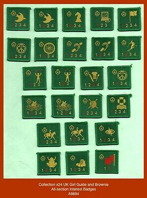 Collecton x24 UK Brownie and Girl Guide All-Section Interest Badges