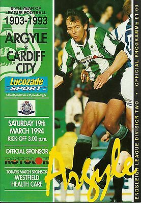 Plymouth Argyle V Cardiff City  19/03/1994  Div 2    (2)