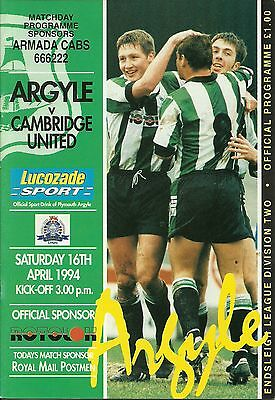 Plymouth Argyle V Cambridge United 16/04/1994  Div 2   (2)