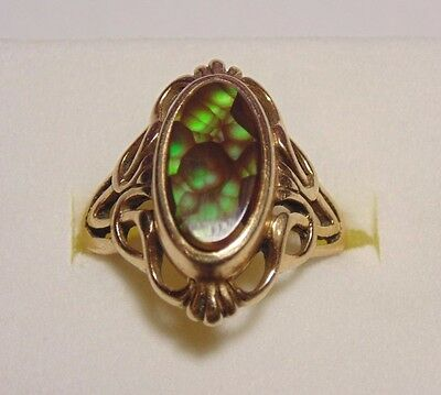 Vintage Art Deco Antique 14K 585 Yellow Solid Gold Large Fire Agate Ring Size 7
