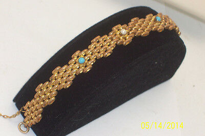 Victorian Panther Link Gold Tone Seed Pearl & Seed Turquoise Bracelet