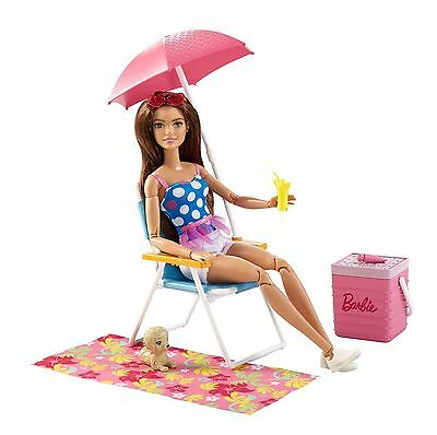 Barbie Beach Picnic Poolside Fun Playset With Puppy Dog for Barbie dolls New