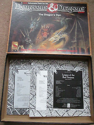 Tsr D&d The Dragons Den  Boxed Set 1073 Three Adventures Boxed  Dungeon Dragon