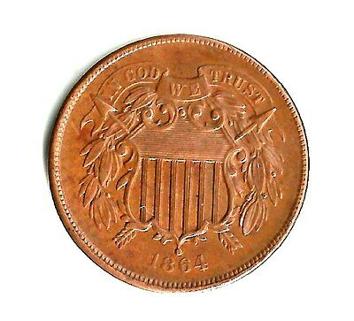 1864  -  Two Cent Piece Uncirculated    Original US Coin    very  nice