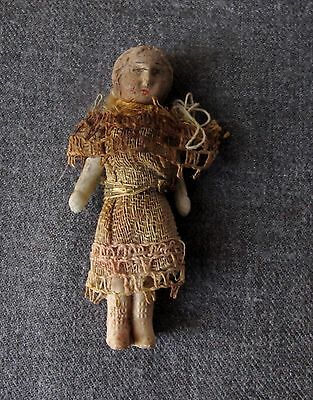 Vintage Rare Frozen Jointed Pin Arms Porcelain Miniature Doll