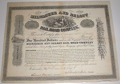 Milwaukee and Beloit Railroad Company 1857 Antique Stock Certificate Wisconsin
