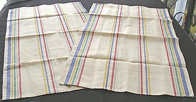 2 Vtg Linen Woven Stripe Kitchen Tea Towels Red Yellow Green Navy Blue Unused