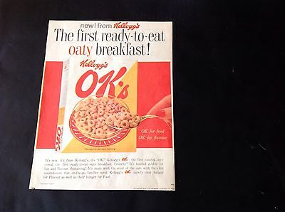 1962 Vintage Colour Original Large Add for The NEW Kellogg's OK's