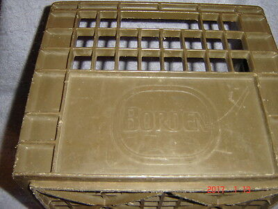 Vintage Plastic Brown Borden Milk Crate Logo raised on two sides