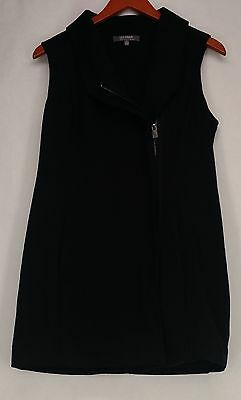 Lisa Rinna Collection Vest S Sleeveless Knit w/ Zip-Up Front & Collar Black