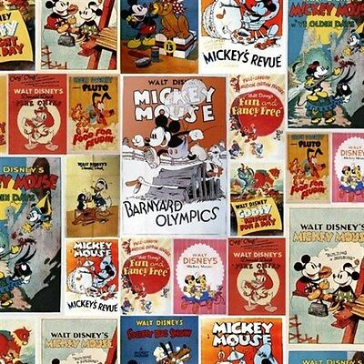 Disney Mickey Mouse and Friends Vintage Posters Cotton Fabric Fat Quarter