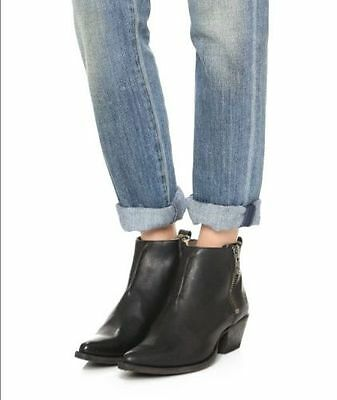 Frye $298 Black  Leather Sacha Moto Shortie Ankle Boots  7