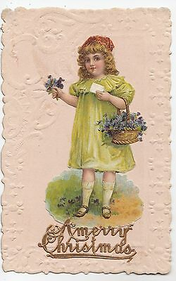 1911 German Embossed Diecut CHRISTMAS Postcard with applied Paper Decorations