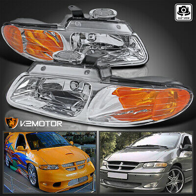 96-00 Dodge Caravan Chrysler Town & Country Voyager Crystal Clear Headlights