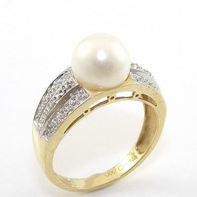 14K Yellow Gold Natural Diamond Pearl Ring Size 7.25 QR1