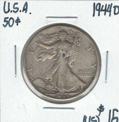 United States USA 1944D Silver 50 Cents Walking Liberty