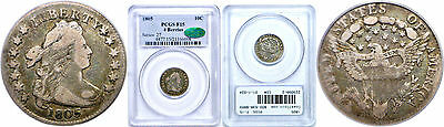 1805 Bust Dime PCGS F-15 CAC 4 Berries