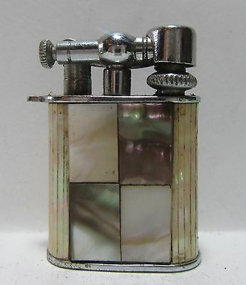 Vintage Mini Lighter, Mother Of Pearl Inlays, Made In 1950's Japan, Working Cond