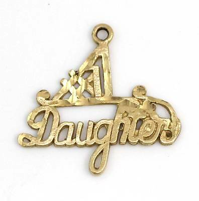 Solid 14K Yellow Gold #1 Daughter Pendant Charm