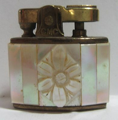 Vintage Mini Lighter, Fiery Mother Of Pearl Inlays,Carved Flower,Japan, Works