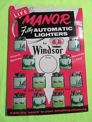 12 Vintage Windsor Lighters on Store Display, Sports Themes, Enamel Finish,  NOS