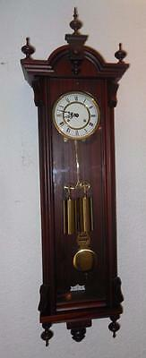 double weight mahogany cased wall clock by hermle